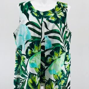 New Directions Curvy Tropical Leaves Print Top